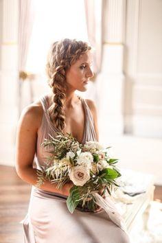 Stunning Braided Crown | SLF Weddings | https://heyweddinglady.com/intimate-love-story-engagement-blush-taupe-gold/