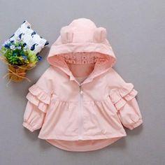 Lovely Ear Detail Flounced Hooded Jacket for Baby Girl