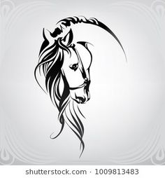 Find Silhouette Head Horse stock images in HD and millions of other royalty-free stock photos, illustrations and vectors in the Shutterstock collection. Thousands of new, high-quality pictures added every day. Painted Horses, Horse Head, Horse Art, Horse Horse, Horse Drawings, Art Drawings, Horse Tattoo Design, Tattoo Designs, Horse Stencil