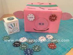 Maialino mangia fiches ; #pig crafts ; #pig cardboard