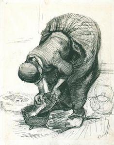 Peasant Woman at the Washtub, black chalk, 1885. Vincent van Gogh drawings