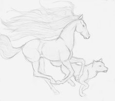 horse and wolf by LadyNovaDragon.deviantart.com on @DeviantArt