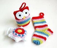Crochet 2014 Christmas Ornaments -  crochet owl stocking star bauble 2014 Christmas ornaments set of 3