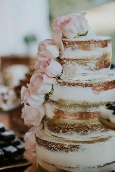Naked cake, rustic cake, real flower cake, blush wedding, rose gold wedding, gold wedding, roses, tiered cake