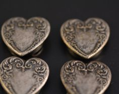 Vintage Set of Four Silver Heart Button Covers