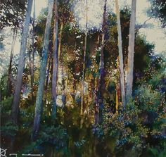 by Oleg Kozak (Ukraine) Watercolor Trees, Watercolor Landscape, Abstract Watercolor, Abstract Landscape, Landscape Paintings, Watercolor Paintings, Watercolors, Landscapes, Watercolor Portraits