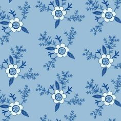 Blue & white floral pattern. By Laurence Lavallée aka Flo www.akaflo.com Pattern Art, Different Colors, My Arts, Blue And White, Illustration, Floral, Instagram Posts, Artist, Flowers