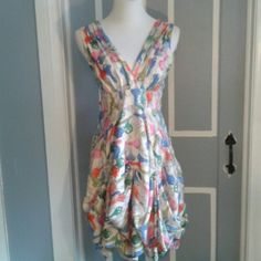 """* HP* Key Print dress White background, keys in blue, pink, orange, grey and light and medium greens. Dress has bustles about 12"""" above hem around entire dress, scoop neck with string ties in back and zipper on left. Such a different style from usual. Sash around back**HP Pretty, Flirty & Girlie 10/18/15** Eva Franco Dresses Midi"""