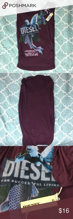 NWT Authentic Diesel Purple Blouse XS NWT. Never worn. Super cute designer brand Diesel shirt. Price is in pesos but if you convert it original price is $75.00. Smoke free home. Tag says XXS but that is Colombian Size. Fits more like small. Included picture of me (usually xs) and a picture of my mom (actually s) Diesel Tops Blouses