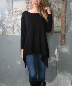 Look at this #zulilyfind! Black Sidetail Sweater Tunic #zulilyfinds