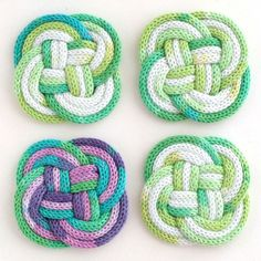 French Knitted Knotted Coasters : DIY rope coaster with french knitting mypoppe… – Knitting Models Spool Knitting, Loom Knitting Patterns, Crochet Patterns, Free Knitting, Yarn Projects, Knitting Projects, Crochet Projects, I Cord, Yarn Crafts