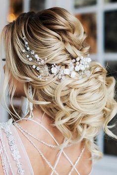 elstile wedding hairstyles low updo with loose curls elstile #weddinghairstyles