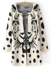 White Long Sleeve Tiger Print Polka Dot Cardigan US$36.07