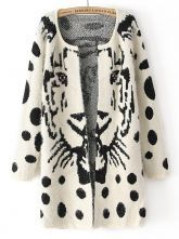 White Long Sleeve Tiger Print Polka Dot Cardigan US$36.07