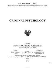 Criminal Psychology, Free eBook by Chuck Thompson via slideshare