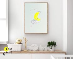 Moon and stars nursery ideas from Sunny and Pretty. Moon and stars nursery decor print for a perfect celestial nursery. Nursery art and nursery prints to complete your nursery decor project. Our nursery wall art is made with love and is designed to reflect your nursery wall decor style. 🖤 Get excited about decorating for your little one! #sunnyandpretty Clouds Nursery, Moon Nursery, Nursery Wall Decor, Nursery Themes, Nursery Art, Girl Nursery, Nursery Prints, Nursery Ideas, Baby Boy Rooms
