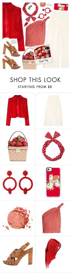 """""""The Last Straw: Basket Bags"""" by jychooi ❤ liked on Polyvore featuring Moncler Gamme Rouge, Valentino, Kate Spade, Oscar de la Renta, Casetify, tarte, Rosie Assoulin, Polaroid, Tory Burch and Estée Lauder"""