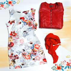 #spring #dress #red #flower #leather