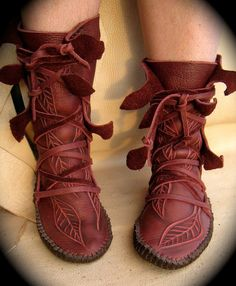 NEW Elf Wrap Moccasins by TreadLightGear on Etsy.... omg! judge if u want but i would totally wear these! and be like Tiger Lilly from peter pan :)