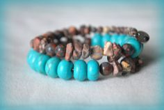Turquoise and Picture Jasper Wire Wrap Bracelet by Cheshujewelry, $18.00
