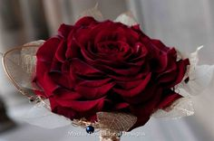Stunning Composite Wedding Bouquet Of: Deep Red Roses & Copper Wire, Beads, Ghost Foliage