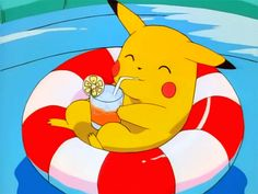 pokemon memes pikachu pool gif