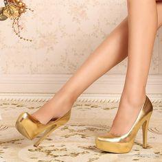 Gold High Heels Gold Bride Bridal Pumps WS0397- PIC4