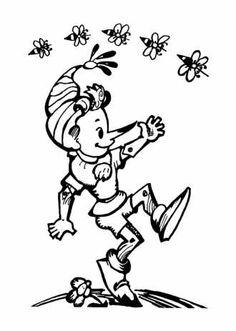 Раскраска Буратино для детей скачать бесплатно