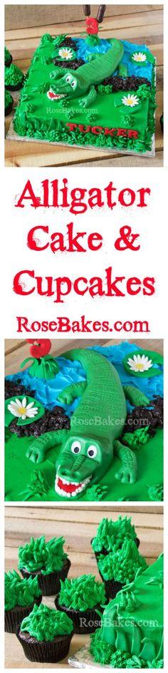 Alligator Cake & Cupcakes by Rose Bakes