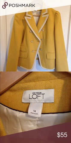Ann Taylor Suit Jacket Gorgeous mustard yellow Ann Taylor suit jacket, perfect for dressing up or down your holiday outfits. It's a great layering piece that looks tailored. It would look amazing with a formal dress or even jeans and a t-shirt Jackets & Coats Blazers