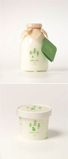 Really simple + pretty milk and ice cream packaging from Japanese company Forest Milk.