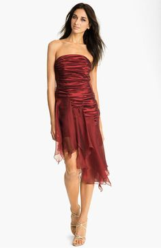 Jessica McClintock Ruched Handkerchief Hem Taffeta Dress   Nordstrom