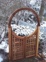 Wooden Lattice Garden Walkway Gate made out of Western Red Cedar.