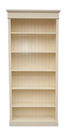 Pine Bookcase Large 5 Adjule Shelves Cream Painted