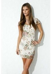 LACE DRESS WITH FLORAL ACCENTS