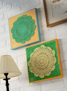 Brighten up your life (or someone else's with these doily canvases - doilies were one buck each