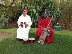 Our resident musicians Rafik and Si Ahmed the gnawa on the right ready for a privatised event, a wedding !