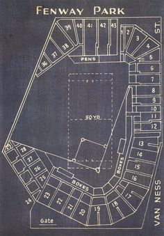 Vintage Boston Red Sox Fenway Park Blueprint on Photo by ClavinInc