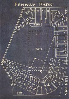 Vintage Boston Red Sox Fenway Park Blueprint on Photo by ClavinInc