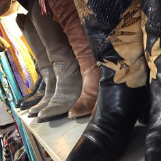 Boots, boots, and more boots.  All pre-owned and broken in.