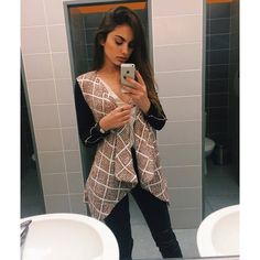 """Joanna Marie on Instagram: """"School ?? cardi from @stellyclothing"""" ❤ liked on Polyvore featuring tops, cardigans, brown tops and brown cardigan"""