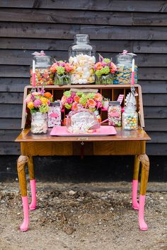 Bright and colourful sweet stand.  Wedding Catering Ideas: The Street Stalls Collection by Kalm Kitchen http://www.kalmkitchen.co.uk/.  Photographed by http://eddiejuddphotography.com/