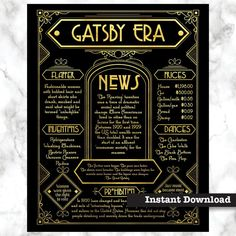 The Great Gatsby decoration, Art Deco poster, Great Gatsby prop : Great decoration for a Gatsby Party -this printable poster describes the Roaring Twenties and is set in detailed Art Deco design. The Great Gatsby, Great Gatsby Prom Theme, Prohibition Party, Speakeasy Party, Great Gatsby Decorations, Roaring 20s Party, The Roaring Twenties, Roaring 20s Fashion, Printable Poster