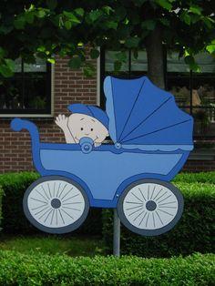 Geboorteborden - babyjongen in kinderwagen | GEBOORTEBORDEN | Online winkel in geboorte artikelen en kraamkado's