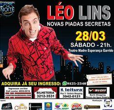 """Léo Lins, repórter do programa """"The Noite"""", apresenta """"Novas Piadas Secretas"""" em Goiânia no dia 28 de março."""