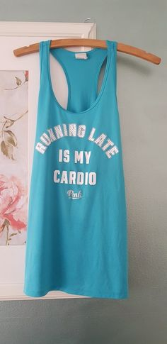9323cad024 Running Late Is My Cardio Turquoise Vest Top Running Late, Cardio, Vest,  Men's
