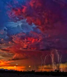 Storm Clouds Multiple Lightning Strike Arizona