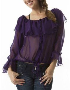 (CLICK IMAGE TWICE FOR DETAILS AND PRICING) Michigan Avenue Designer Wear Easy Blouse Plum. A sheer top with ruffles along the neck and sleeve. Rock this blouse with a pair of jeans and heels for a sexy look.. See More Tops at http://www.ourgreatshop.com/Tops-C74.aspx