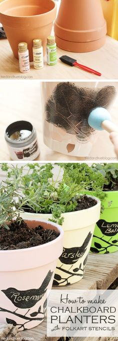 Stay organized and add a bit of charm to your herb garden with these DIY chalkboard stencil planters.
