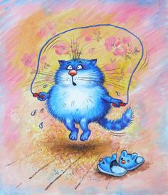 Funny Bunnies, Funny Cats, Happy Paintings, Blue Cats, Happy Art, Cat Drawing, Morning Images, Cat Art, Kittens